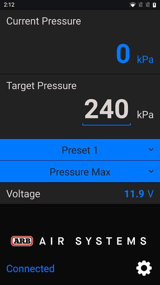 Beispielansicht aus der ARB Compressor App